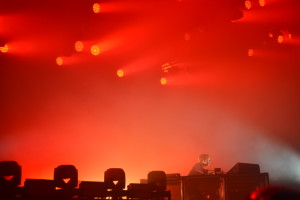 Red: Lighting at a Flume concert.