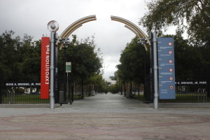 This Exposition Park. It is located just south of USC's campus along Exposition Boulevard and Vermont Avenue.