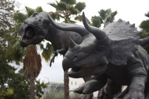Just outside the park, two stone dinosaurs greet USC fans on the way to football games at the Coliseum.